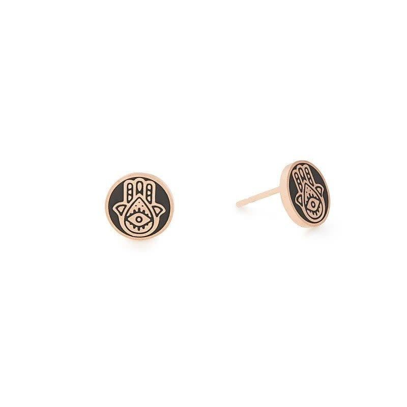 Hamsa Post Earrings, 14KT Rose Gold Plated
