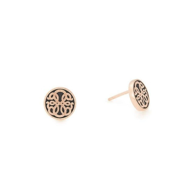 Path of Life Post Earrings, 14KT Rose Gold Plated