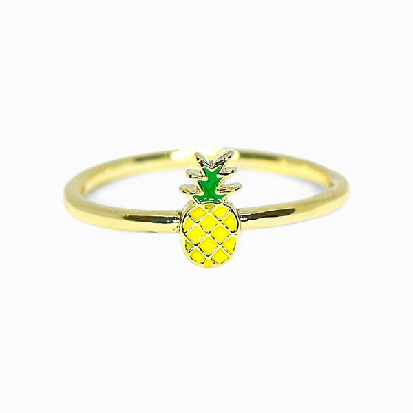 Gold Enamel Pineapple Ring