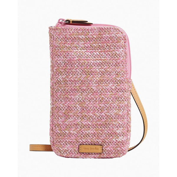 Straw Cellphone Crossbody Pink Cherry