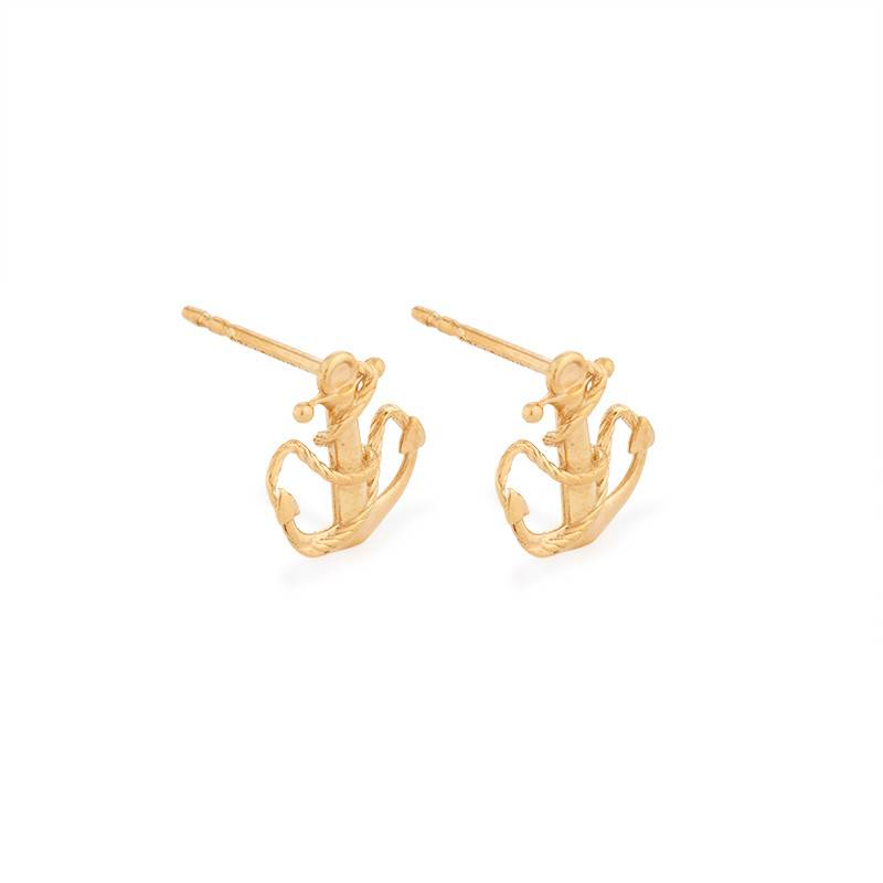 Providence Post Earrings, Anchor, 14Kt Gold Plated