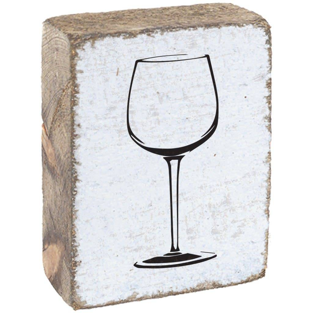 Rustic Block Wine Glass - White Black