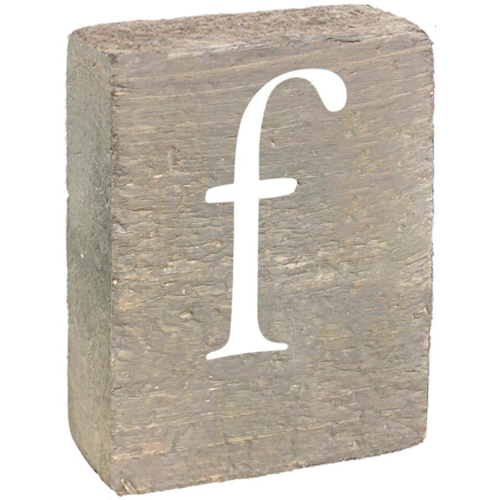 Rustic Block, Lowercase Letter F - Grey Wash, White, Belle Font