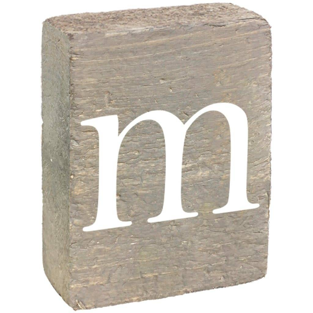Rustic Block, Lowercase Letter M - Grey Wash, White, Belle Font