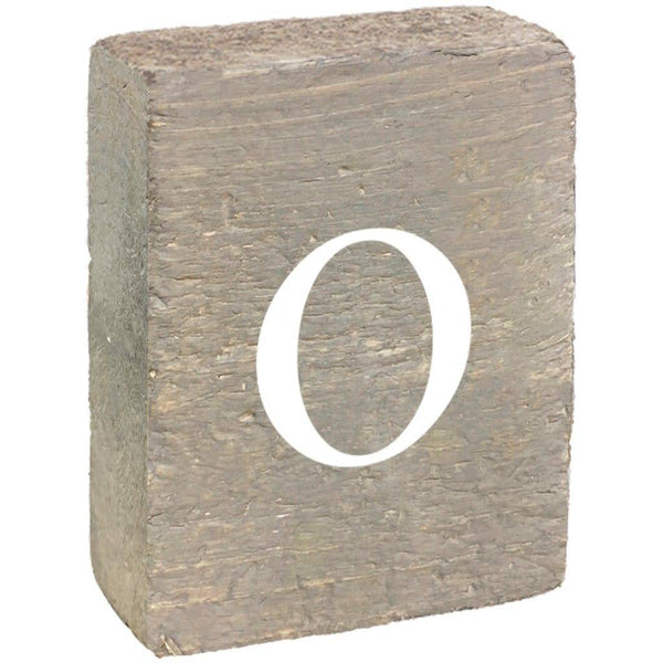 Rustic Block, Lowercase Letter O - Grey Wash, White, Belle Font
