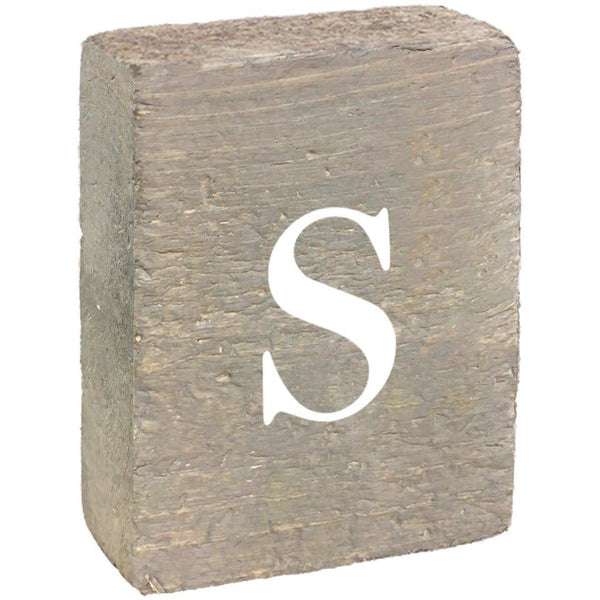 Rustic Block, Lowercase Letter S - Grey Wash, White, Belle Font