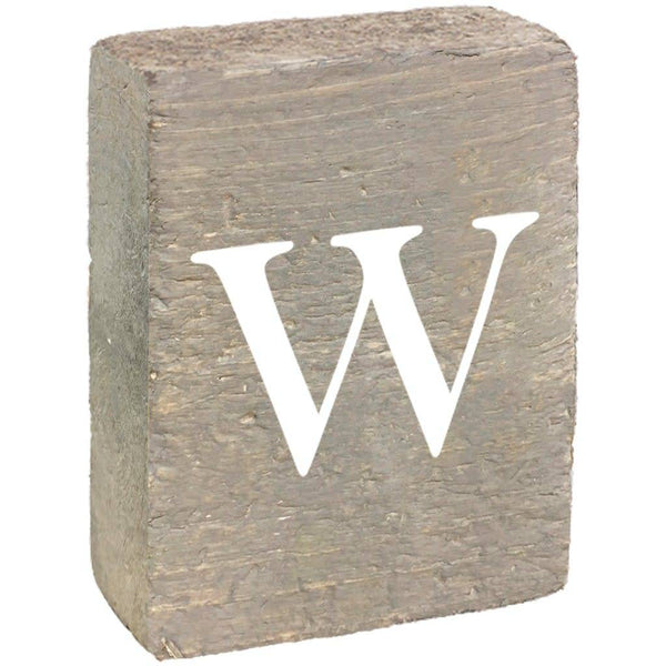 Rustic Block, Lowercase Letter W- Grey Wash, White, Belle Font