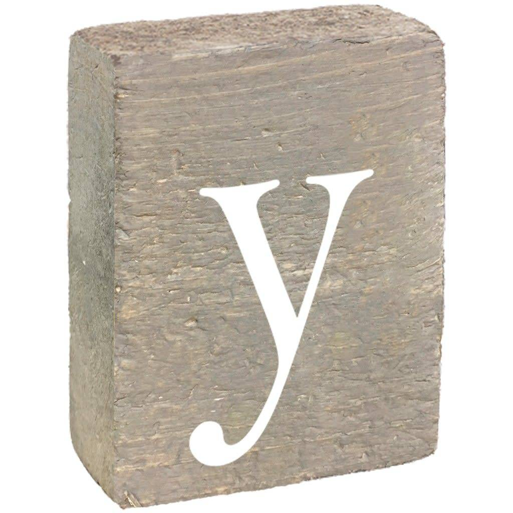 Rustic Block, Lowercase Letter Y - Grey Wash, White, Belle Font