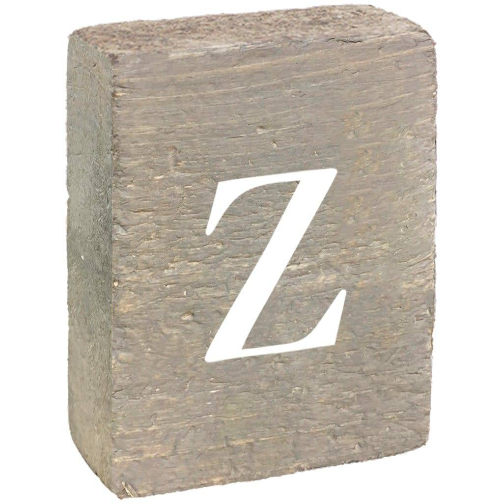 Rustic Block, Lowercase Letter Z - Grey Wash, White, Belle Font