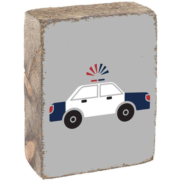 Rustic Block - Police Car, Light Grey, White, Navy, Red