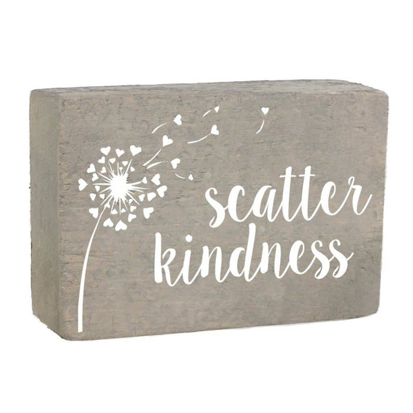 XL Rustic Block, Scatter Kindness - Grey Wash, White