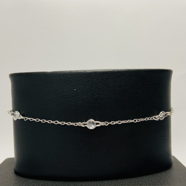 Silver Clear Stone Anklet
