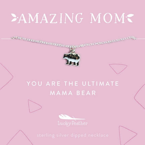 Mom Necklace - You Are the Ultimate Mama Bear Silver