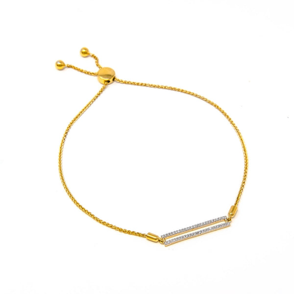 Drawstring Bar Bracelet, Yellow Gold