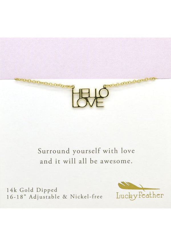 Strong and Sassy - Carded - Gold Necklace - Hello Love