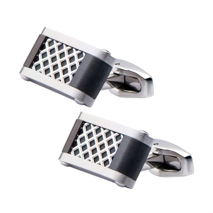 Polished Finish Steel with Black Plated Cage Cufflinks