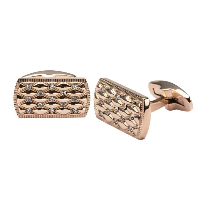 Stainless Steel Rose Gold Plated with Clear CZ Stone Cuff Links