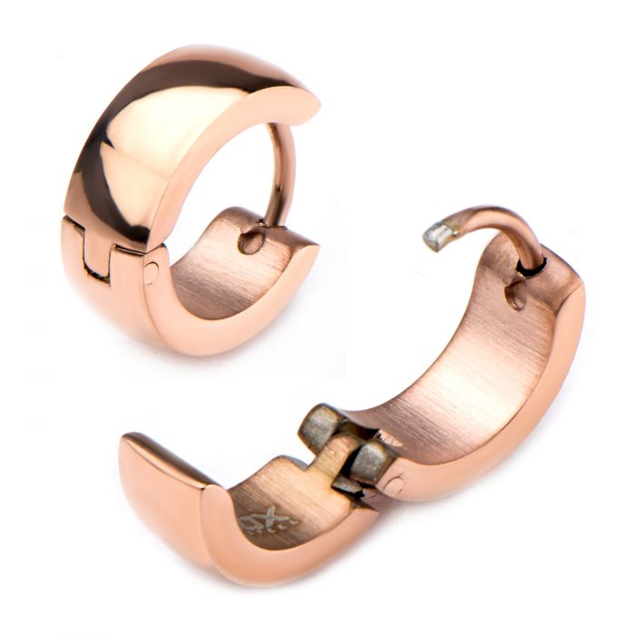 Inox Jewelry Rose Gold Plated Huggies Earrings 9mm/5mm