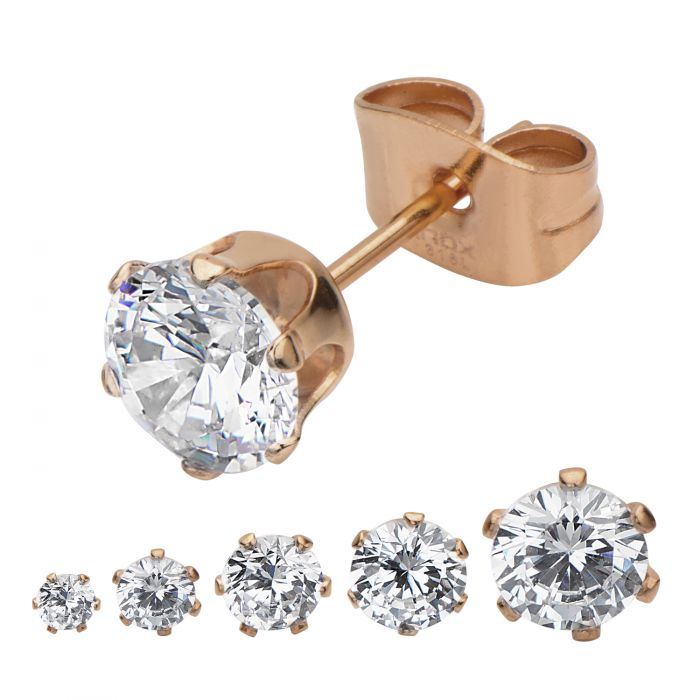 Rose Gold Plated Steel with Clear CZ Stud Earrings (Unisex)