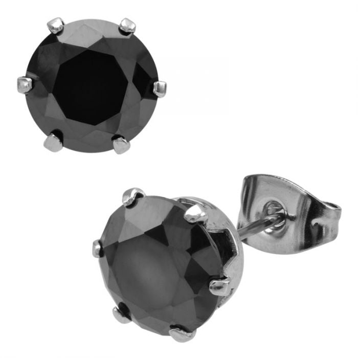 Prong Set Black CZ  Stud Earrings (Unisex)