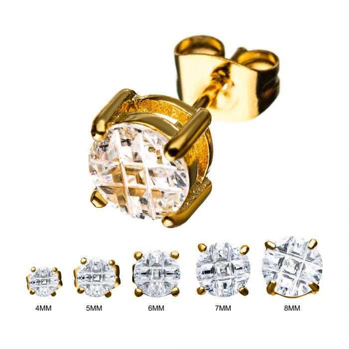 Stainless Steel and Gold Plated with Hashtag CZ Round Cut Stud Earrings