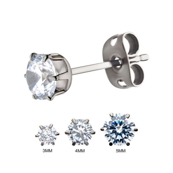 Titanium Post with Butterfly Back, and a Prong Set Clear CZ Stud Earrings. Sold as pair.