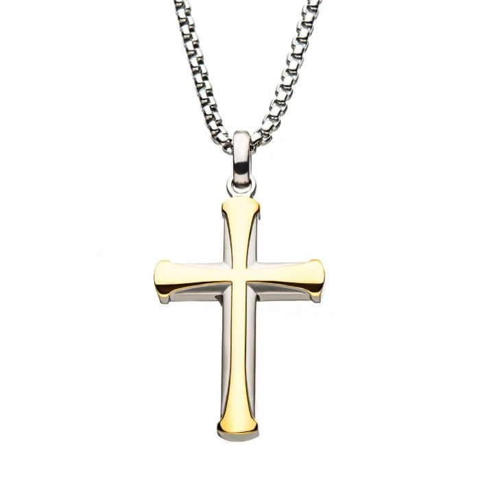 Stainless Steel Gold Plated Apostle Cross Pendant with Chain