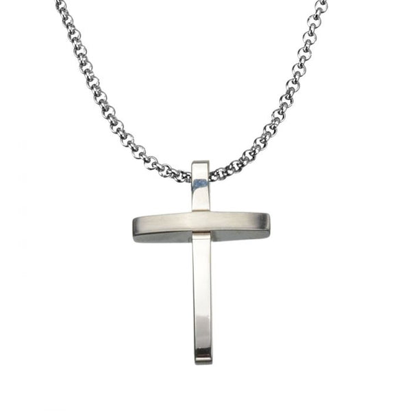 Steel 3D Cross Polished Pendant
