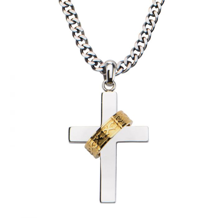 Gold Plated Ring in Steel Cross Pendant with Chain