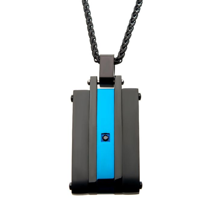 Matte Finished Black & Blue Plated with Black CZ Pendant with Chain