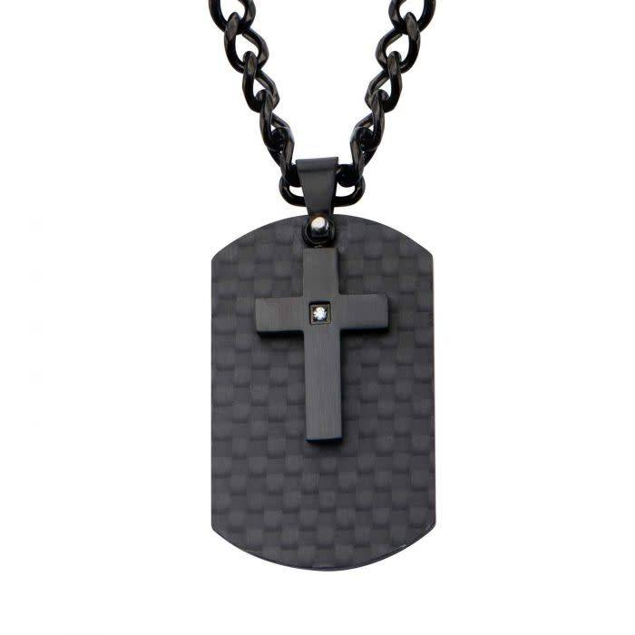 Black Cross and Dog Tag Necklace
