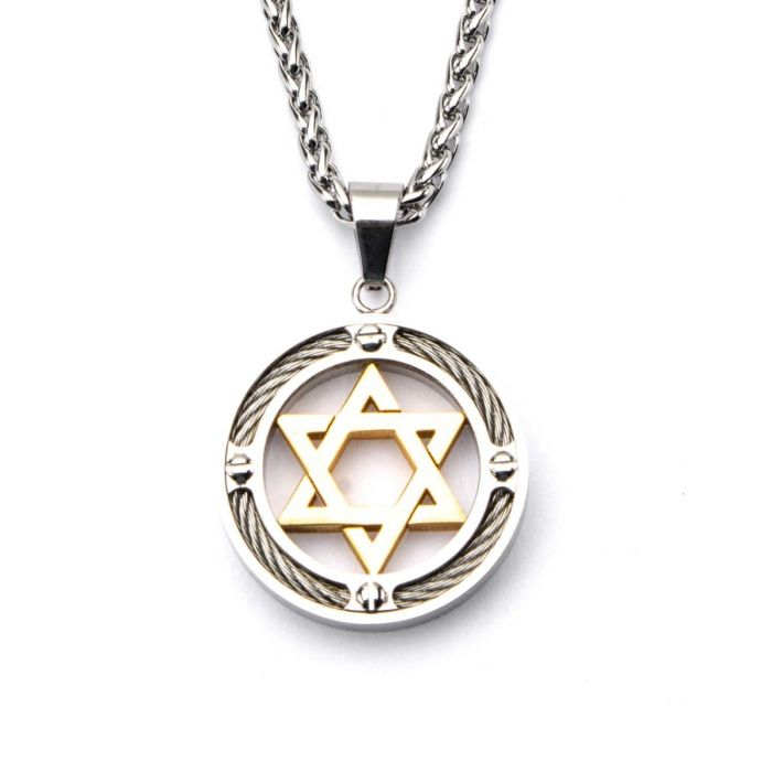Steel Gold Plated Star of David with Cable Inlayed in Circle Pendant