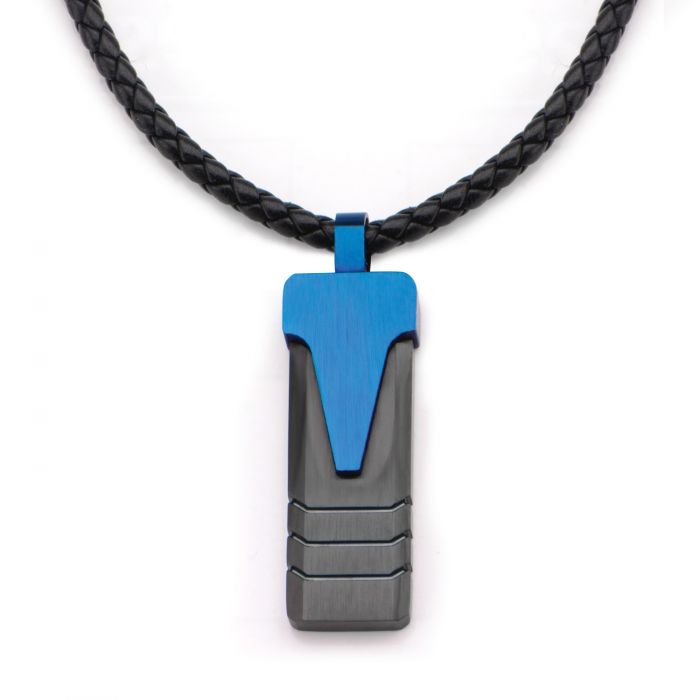 Blue Plated Triangle & Black Plated Groove Line Pendant Leather Necklace
