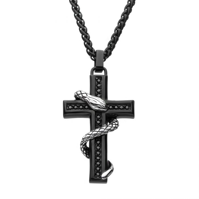 Stainless Steel Black Plated with Black CZ Snake Cross Pendant with Wheat Chain
