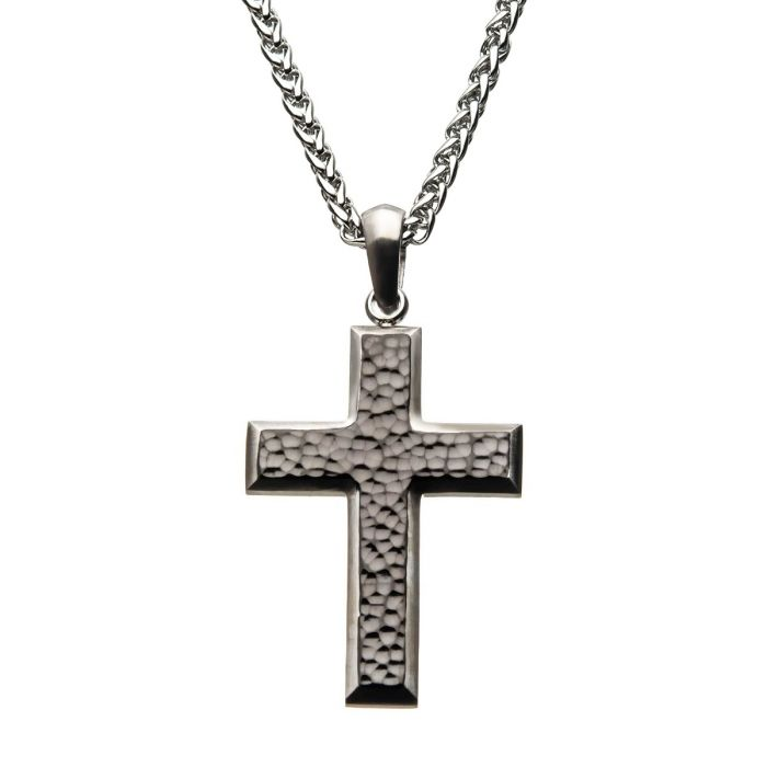 Stainless Steel Hammered Cross Pendant with Chain