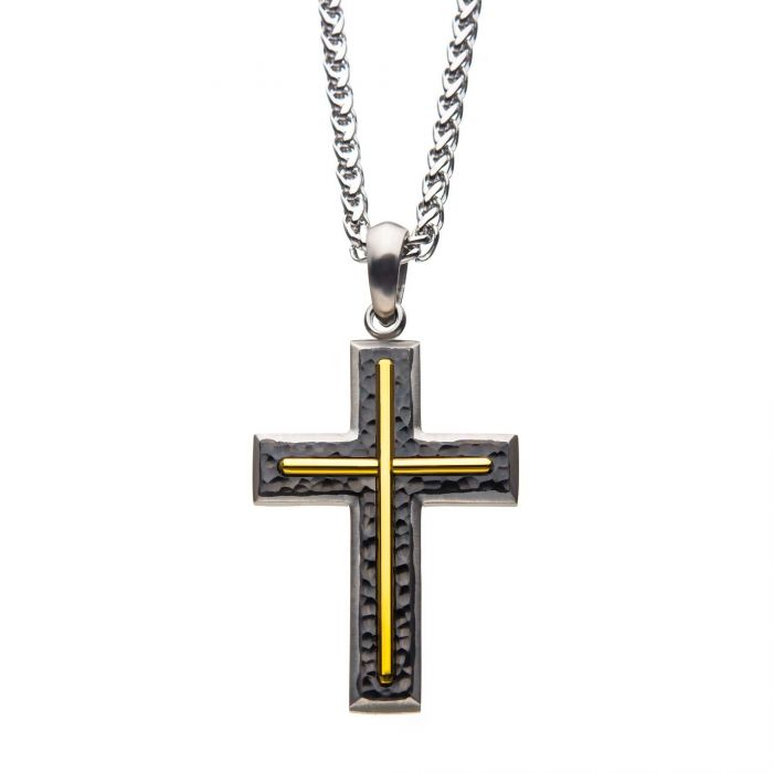 Hammered Gun Metal Cross with Gold Plated Pendant