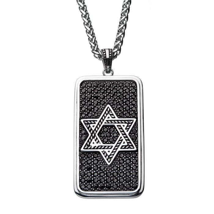 Stainless Steel with Black CZ Star of David Dog Tag Pendant with Steel Wheat Chain