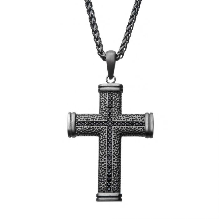 Stainless Steel Antique Bronze Plated with Black CZ Pendant with Wheat Chain