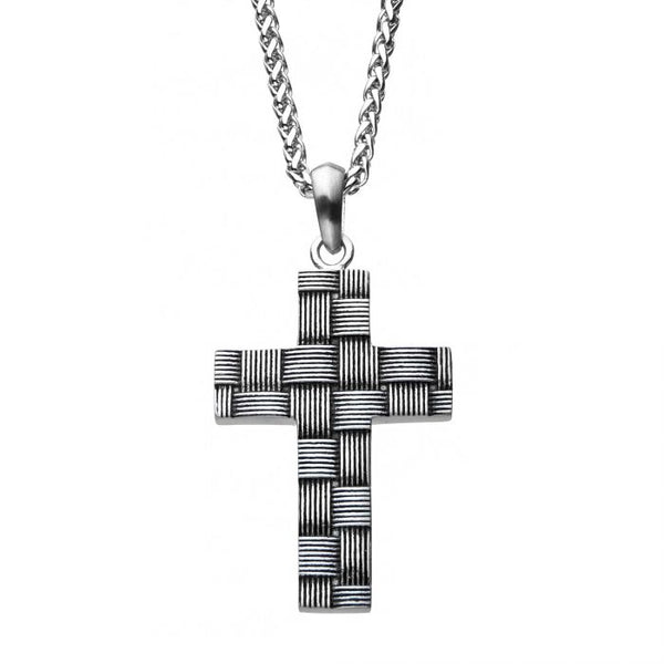 Antiqued Stainless Steel Weave Pattern Cross Pendant with Chain
