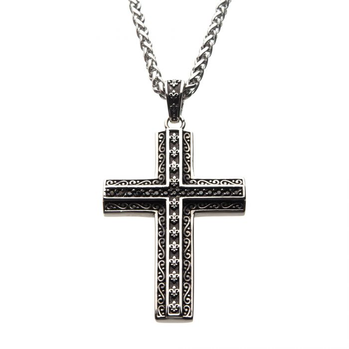 Black Oxidized Steel Cross with Black CZs & Fleur de lis designs Pendant with Steel Wheat Chain
