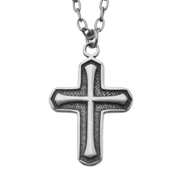 Antique Stainless Steel Cross Pendant with Chain