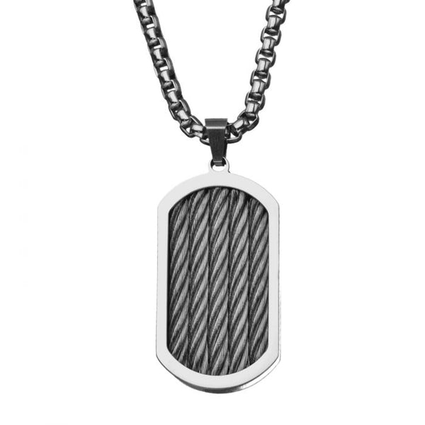 Three Cable Chunky Inlayed Dog Tag Pendant