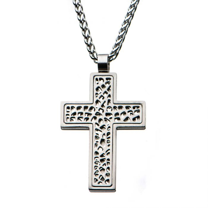 Multi-Holes Steel Cross Pendant with Steel Round Wheat Chain