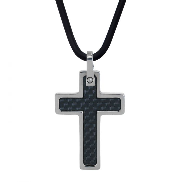 Carbon Fiber Cross with Steel Edges Pendant