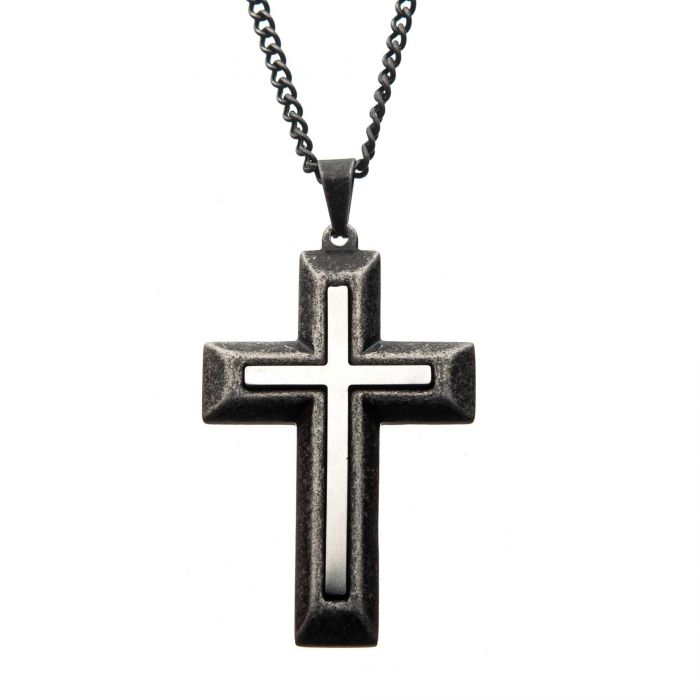 Stainless Steel & Antiqued Finish Double-Layered Cross Pendant with Chain