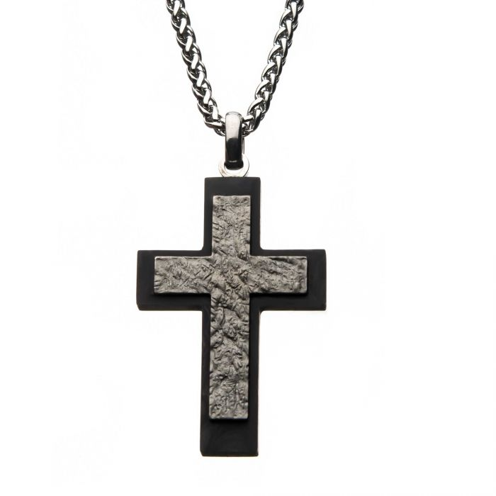 Steel Carbon Fiber Cross Pendant with Steel Wheat Chain