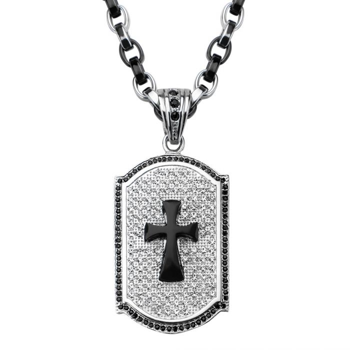 Black Onyx Cross Crystal Dog Tag Pendant Necklace
