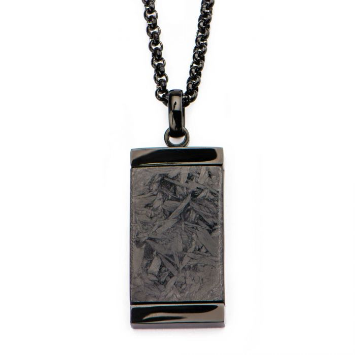 Solid Carbon Graphite Dog Tag Pendant with Black Plated Chain