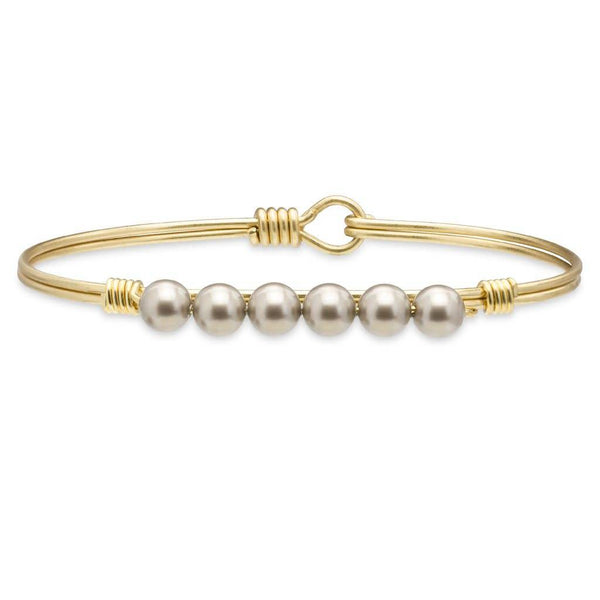 Crystal Pearl Gold Bangle Platinum