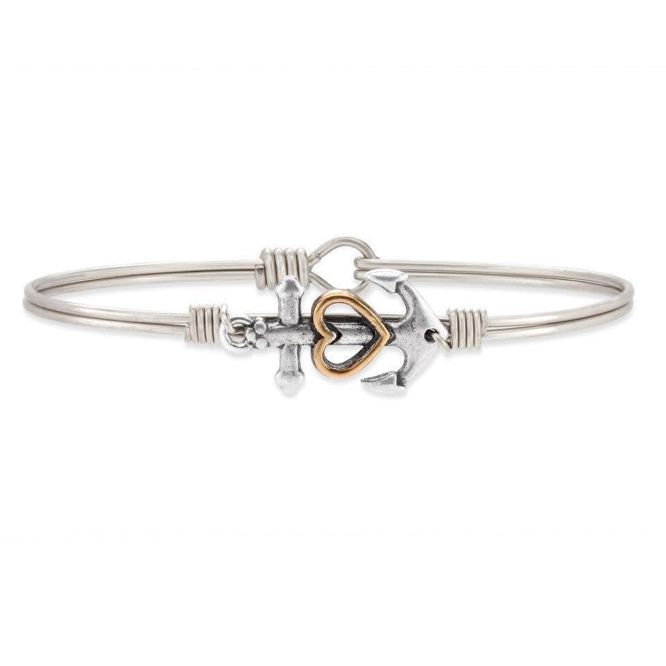 Anchor with Heart Silver Wire Bracelet